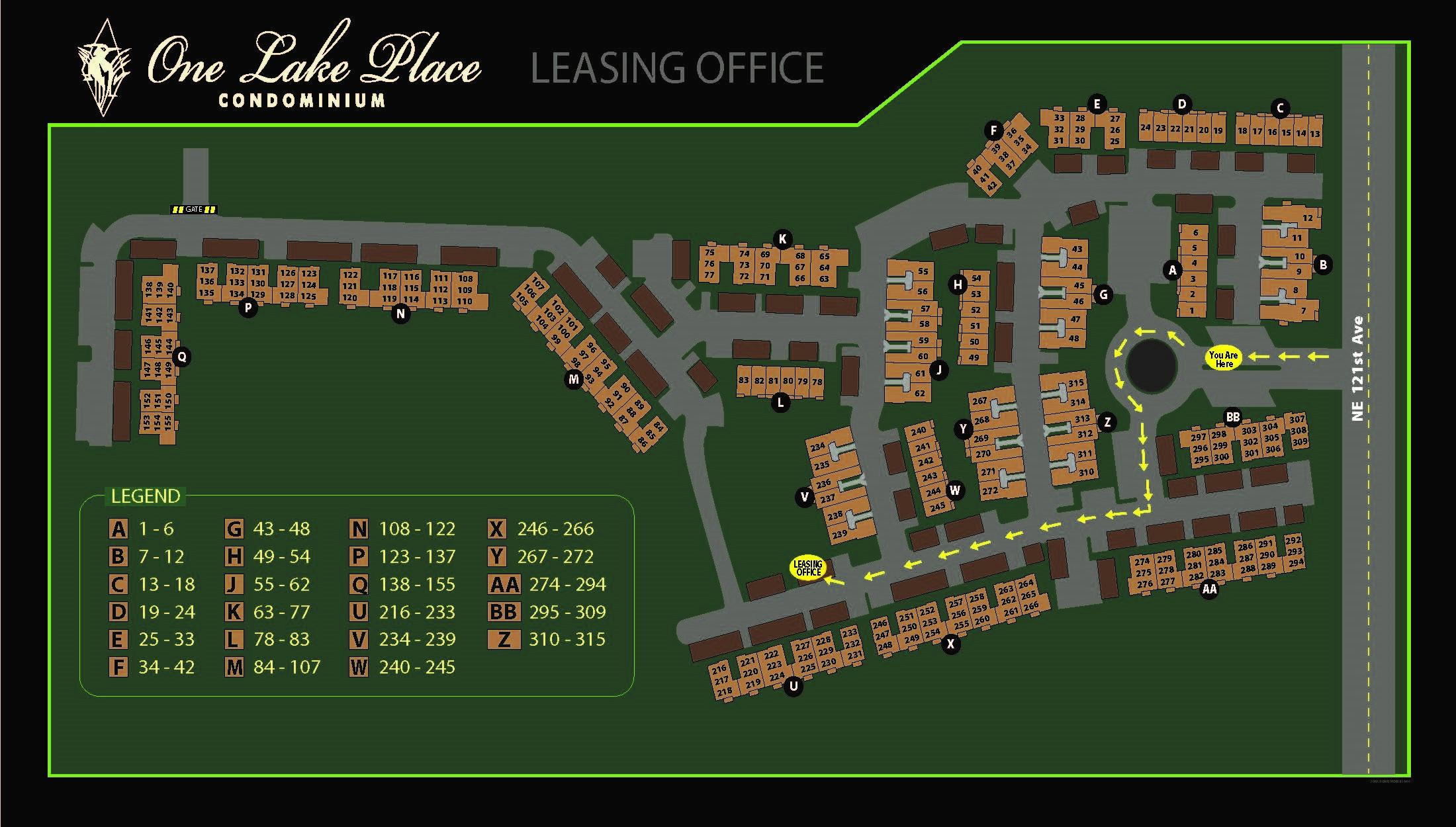 One Lake Place Map